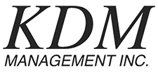 Black and white logo for KDM Management Inc.